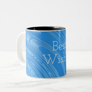 abstract blue metallic texture. Text. Two-Tone Coffee Mug