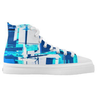 abstract blue mosaic (big) high tops