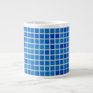 Abstract Blue Mosaic Giant Coffee Mug
