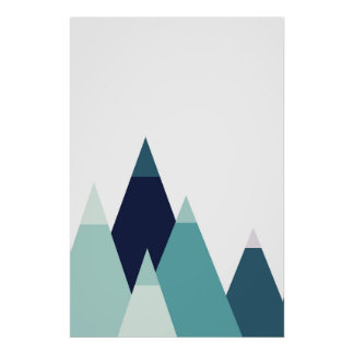 Abstract blue mountains print Modern geometric art