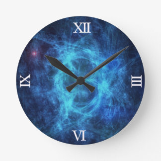 Abstract Blue Nebula Round Clock
