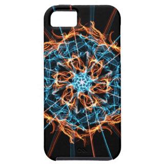 Abstract Blue Orange Flames Hexagon Tough iPhone 5 Case