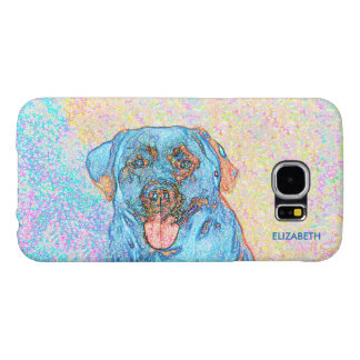 Abstract Blue Orange Labrador Retriever Samsung Galaxy S6 Cases