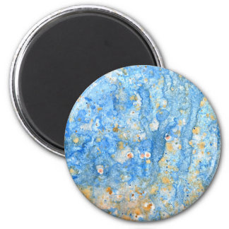 Abstract blue painting 6 cm round magnet