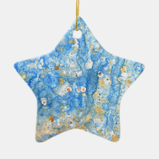 Abstract blue painting ceramic ornament