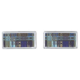 Abstract Blue Pattern Design Silver Finish Cuff Links