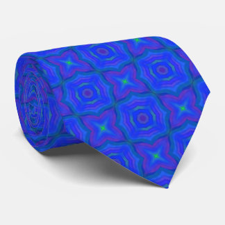 Abstract Blue Pattern with Green Stars Tie