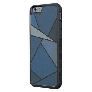 Abstract Blue Polygons Carved Maple iPhone 6 Bumper Case