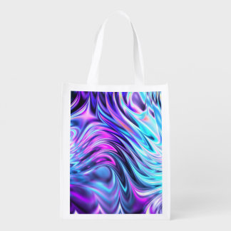 Abstract Blue Purple Pink Fractal Wave Art