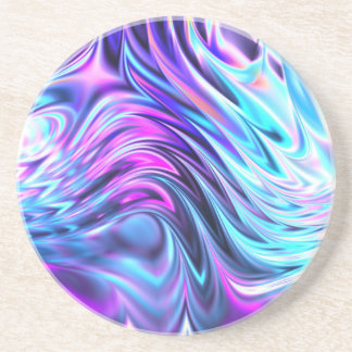 Abstract Blue Purple Pink Fractal Wave Art Coaster