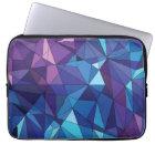 Abstract blue purple polygonal design laptop sleeve