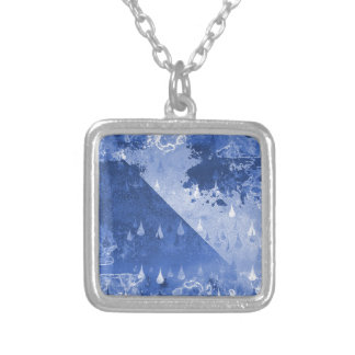 Abstract Blue Rain Drops Design Silver Plated Necklace