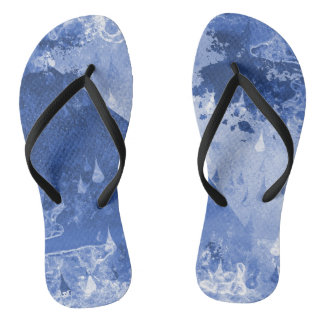 Abstract Blue Rain Drops Design Thongs