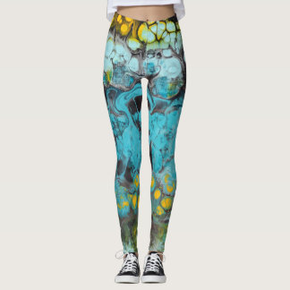 Abstract Blue Rock Layered Leggings