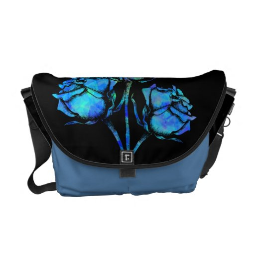 Abstract Blue Rose Vector Graphic Courier Bags
