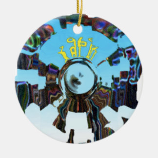 Abstract Blue Round Ceramic Decoration