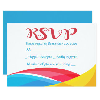 Abstract Blue RSVP Rainbow Wave Red & Yellow Card