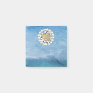 Abstract Blue Sea Golden Pearl Seashell Jewel Post-it® Notes