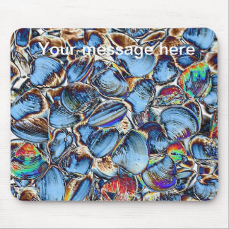 Abstract Blue Sea Shells Mouse Pad
