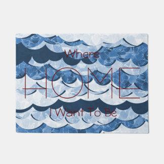 Abstract Blue Sea Waves Design Doormat