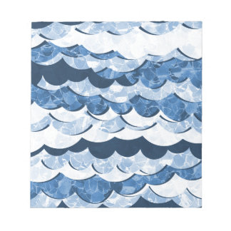 Abstract Blue Sea Waves Design Notepad