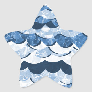Abstract Blue Sea Waves Design Star Sticker