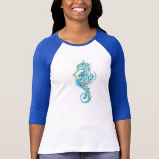 Abstract Blue Seahorse T-Shirt
