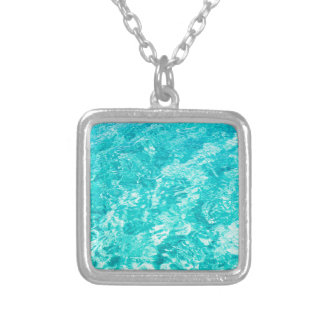 Abstract blue silver plated necklace