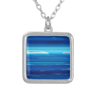 Abstract Blue Sky Silver Plated Necklace