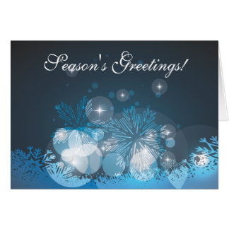 Abstract Blue Snowflakes Christmas Card