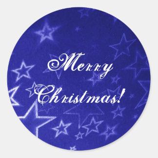 Abstract blue star background design round sticker