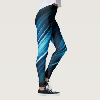 Abstract Blue Stripes Leggings