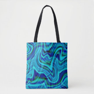 Abstract Blue Swirl Design Tote Bag