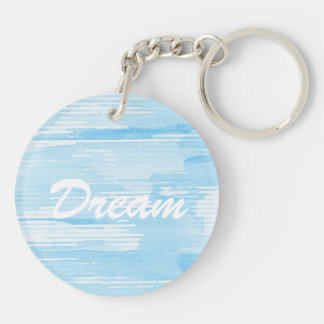Abstract blue watercolor background, texture. Double-Sided round acrylic key ring