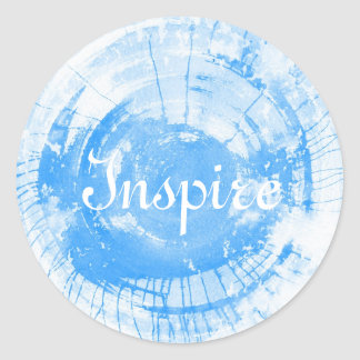 Abstract blue watercolor background, texture. round sticker