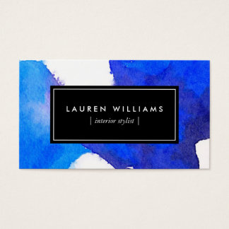 Abstract Blue Watercolor Business Card