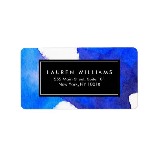 Abstract Blue Watercolor Label Address Label