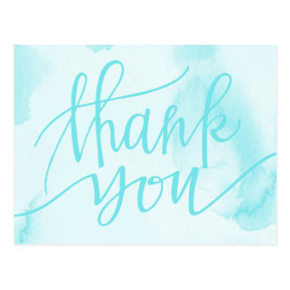 Abstract Blue Watercolor | Thank You Postcard