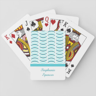 Abstract Blue Waves Playing Cards