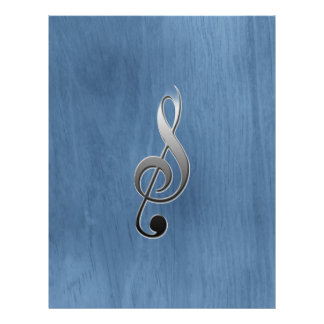 Abstract blue wood grain music clef note 21.5 cm x 28 cm flyer