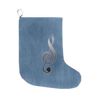 Abstract blue wood grain music clef note large christmas stocking