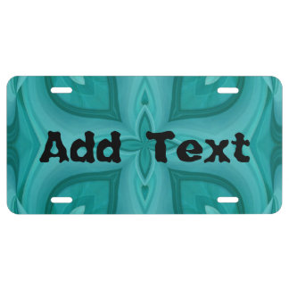 Abstract Blue Wood Pattern License Plate