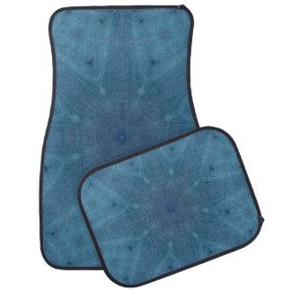 Abstract blue wood floor mat