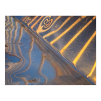 abstract blue, yellow and silver metal reflection postcard
