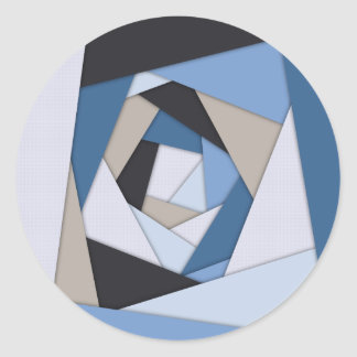 Abstract Blues Geometric Layers Classic Round Sticker