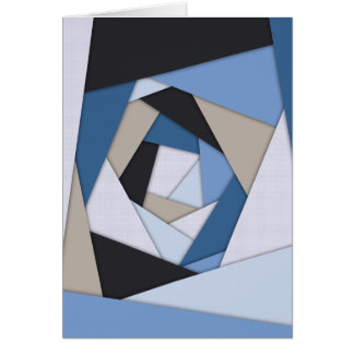 Abstract Blues Geometric Layers Greeting Card
