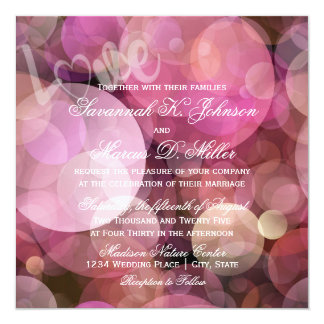Abstract Bokeh Pink Purple LOVE Wedding Invitation