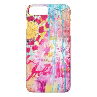 Abstract Bold Vibrant Art Paint Splatter Pink Aqua iPhone 8 Plus/7 Plus Case