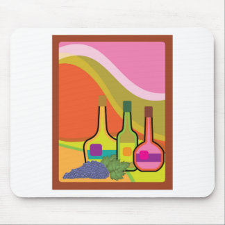 Abstract bottles and grapes mouse pad