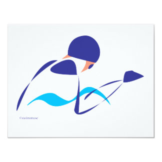 Abstract Breaststroke 1 11 Cm X 14 Cm Invitation Card